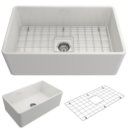 BOCCHI 1138-001-0120 Classico Apron Front Fireclay 30 in. Single Bowl Kitchen Sink